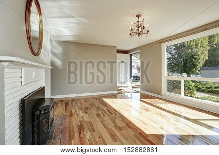Bright Sunny Empty Living Room And Entryway Interior
