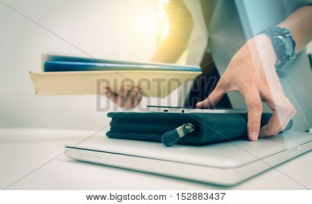 Business woman prepare documents and graph business diagram and business people working in the background,business content,business background and film effect and digital design.