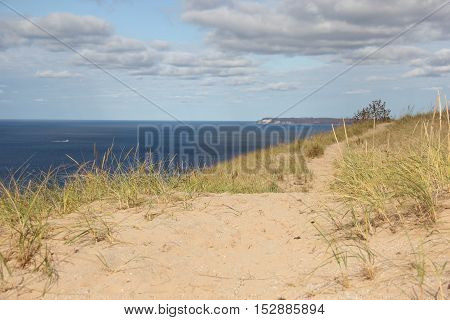 A trail through the dunes in Sleeping Bear Dunes National Lakeshore, Michigan