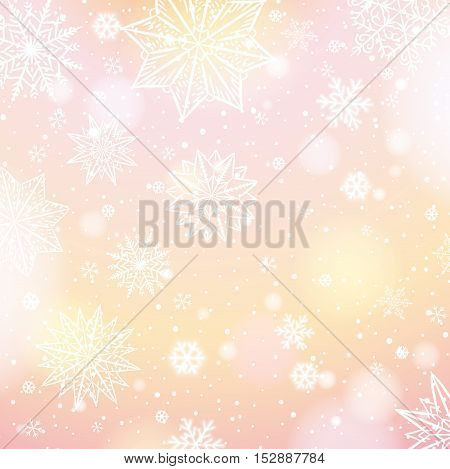 Light pink background with snowflakes and stars vector illustration