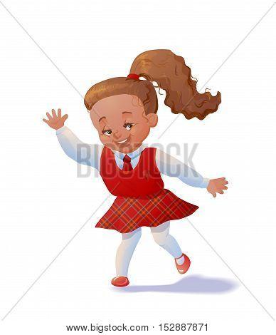 Cute running schoolgirl. Pupil in uniform. Cartoon character. Vector illustation