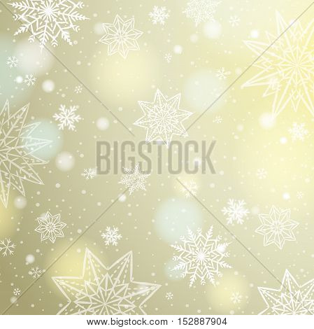 Light beige background with snowflakes and stars vector illustration