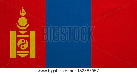 Mongolian national official flag. Patriotic symbol banner element background. Correct colors. Flag of Mongolia with real detailed fabric texture accurate size illustration