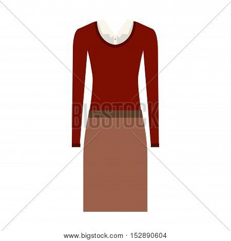 brown skirt and white blouse with red sweater. executive women clothes design. vector illustration