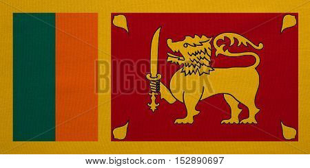 Sri Lankan national official flag. Patriotic symbol banner element background. Correct colors. Flag of Sri Lanka with real detailed fabric texture accurate size illustration