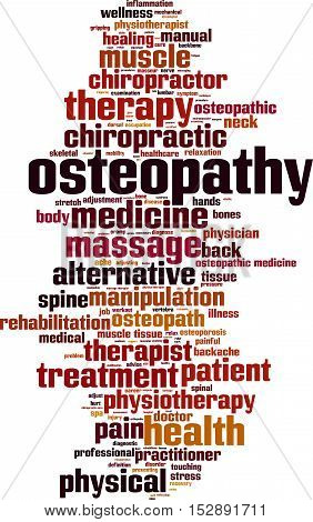 Osteopathy word cloud concept. Vector illustration on white