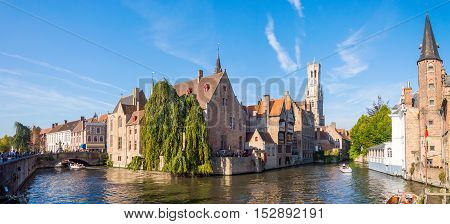 View From The Rozenhoedkaai In Brugge With The Perez De Malvenda House And Belfort Van Brugge