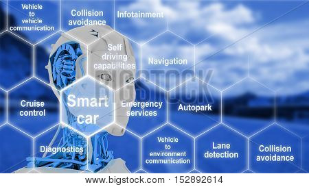 Hexagon grid with connected smart car features on a blue street background with a female robot head 3D illustration