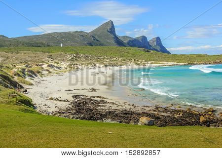 Remote beach on the eastern side of the Cape Peninsula overlooking False Bay, Western Cape, South Africa. The Cape of Good Hope, offers wild and dangerous beaches without lifeguards service.