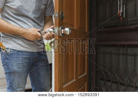 locksmith open the wood door by cylinder tools to home - can use to display or montage on product