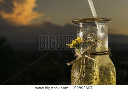 abstract cloes-up welcome drink on evening sunset - can use to display or montage on product