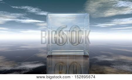 number sixty in glass cube under cloudy sky - 3d rendering