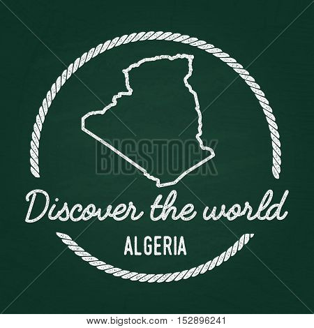 White Chalk Texture Hipster Insignia With People's Democratic Republic Of Algeria Map On A Green Bla