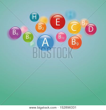 Essential vitamins necessary for human health. Abstract colorful illustration. Blurred green background.
