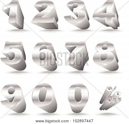 Three-dimensional number set 0-9 with percent off. Vector illustration of 3D font characters. Silver style numbers for promotion element.