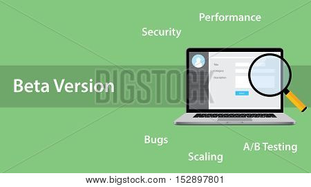 beta version software concept with laptop and magnifying glass with error bug bugs a b testing performance and scaling launch vector