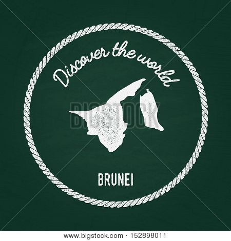 White chalk texture vintage insignia with Nation of Brunei map on a green blackboard. Grunge rubber seal with country outlines vector illustration. poster
