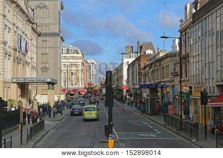 LONDON UNITED KINGDOM - NOVEMBER 23: Praed Street Near Paddington in London on NOVEMBER 23 2013. Hilton Padditngton at Praed Street in London United Kingdom.