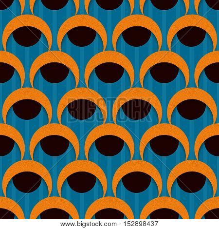3d seamless pattern with circles and half-round shapes. Vector background