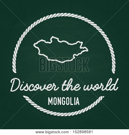 White Chalk Texture Hipster Insignia With Mongolia Map On A Green Blackboard. Grunge Rubber Seal Wit
