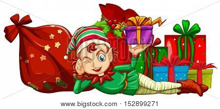 Christmas theme with elf and gift boxes illustration