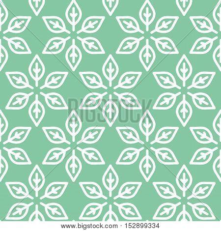 Retro Leaf Shaped Green Seamless Background
