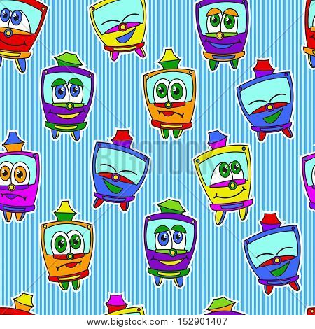Seamless pattern with funny kids trams, bright colored. Vector illustration on blue striped background. Kids style.