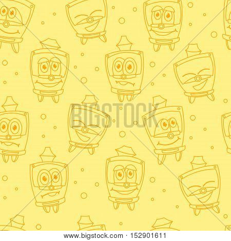 Seamless pattern with funny kids trams, orange colored. Vector illustration on yellow background. Kids style.
