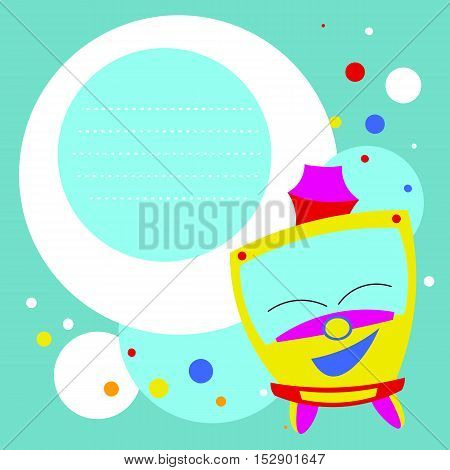 Bright colored funny kids tram card template. Vector illustration on blue background. Kids style.