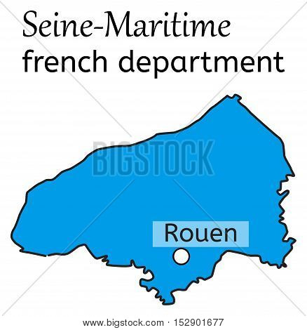 Seine-Maritime french department map on white in vector