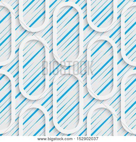 Seamless Ellipse Pattern. White and Blue Minimalistic Ornament. Geometric Decorative Wallpaper. Abstract Fashion Background. Print Graphic Design.