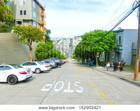 San Francisco, California, United States of America - May 04, 2016: The traditional buildings at streets near downtown in San Francisco, USA