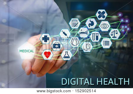 Medicine hand pointing medical text on screen with modern fiber optic network Digital health concept.