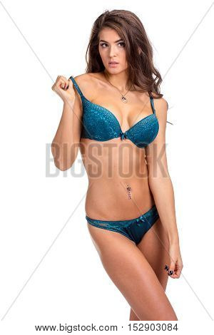 Pretty Slim Woman In Lingerie On White Background