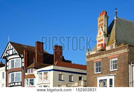 WEYMOUTH, UNITED KINGDOM - JULY 19, 2016 - Buildings along the Esplanade promenade Weymouth Dorset England UK Western Europe, July 19, 2016.