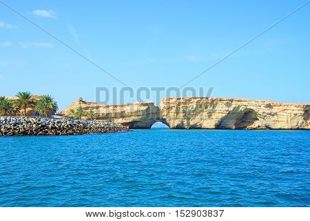 Arch stone hole of nature bridge a leisure place in Oman