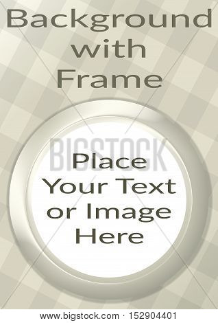 Abstract Background, Round Porthole Frame on White Checkered Wall with Empty White Place for Text or Design Image. Eps10, Contains Transparencies. Vector