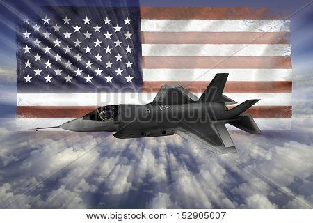 F-35 Modern Stealth Flighter With Flag Of Usa