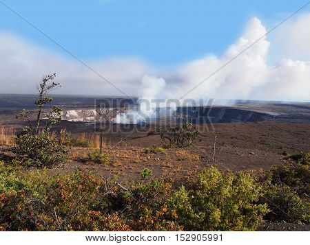 Kilauea Caldera Volcano on the Big Island Hawaii  Halemaumau Crater