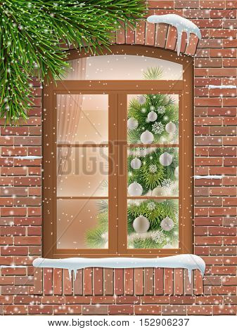 View through a window on Christmas interior with a decorated Christmas tree in the living room. Wooden window in a brick wall. Outside it is snowing. Realistic vector illustration.