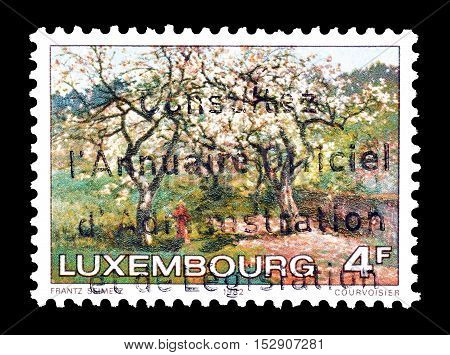 LUXEMBOURG - CIRCA 1982 : Cancelled postage stamp printed by Luxembourg, that shows Painting of a landscape.