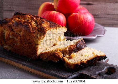 Spicy apple loaf cake sliced on plate