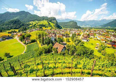 Landscape view on Balzers village in Liechtenstein