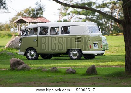 LATVIA - SEPTEMBER 9, 2016: VW Bus - VOLKSWAGEN Transporter T2. The Volkswagen Type 2 is a panel van introduced in 1950 by the German automaker Volkswagen.