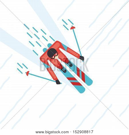 Mountain ski. Top view of a skier. Cartoon illustartion