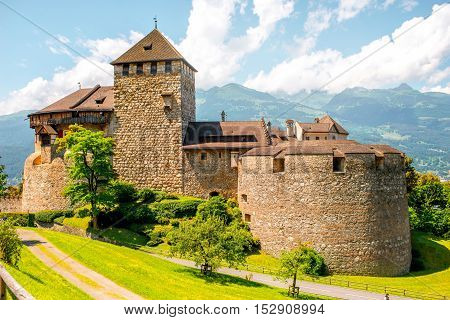 Vaduz, Liechtenstein - July 01, 2016: Landscape view on Vaduz castle in the capital of Liechtenstein. This castle is the palace and official residence of the Prince of Liechtenstein