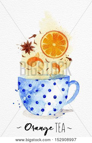 Watercolor teacup with orange tea cloves anise drawing on watercolor paper background