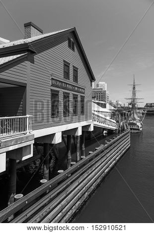 Boston, MA - June 2016, USA: Tea Party Museum in Boston harbor, black and white