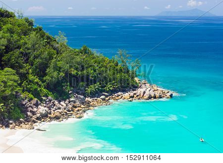Beautiful and a famous beach Anse Georgette from above, Praslin island, Seychelles