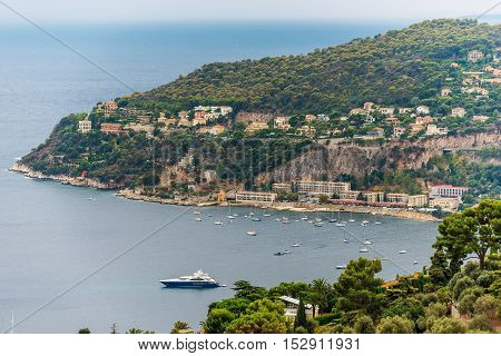 Nice, France: aerial panoramic top view of surrounding hills